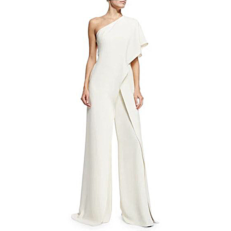 2017 Spring Summer Brief One Shoulder Chiffon Ruffles Wing Jumpsuits Slim White Jumpsuits