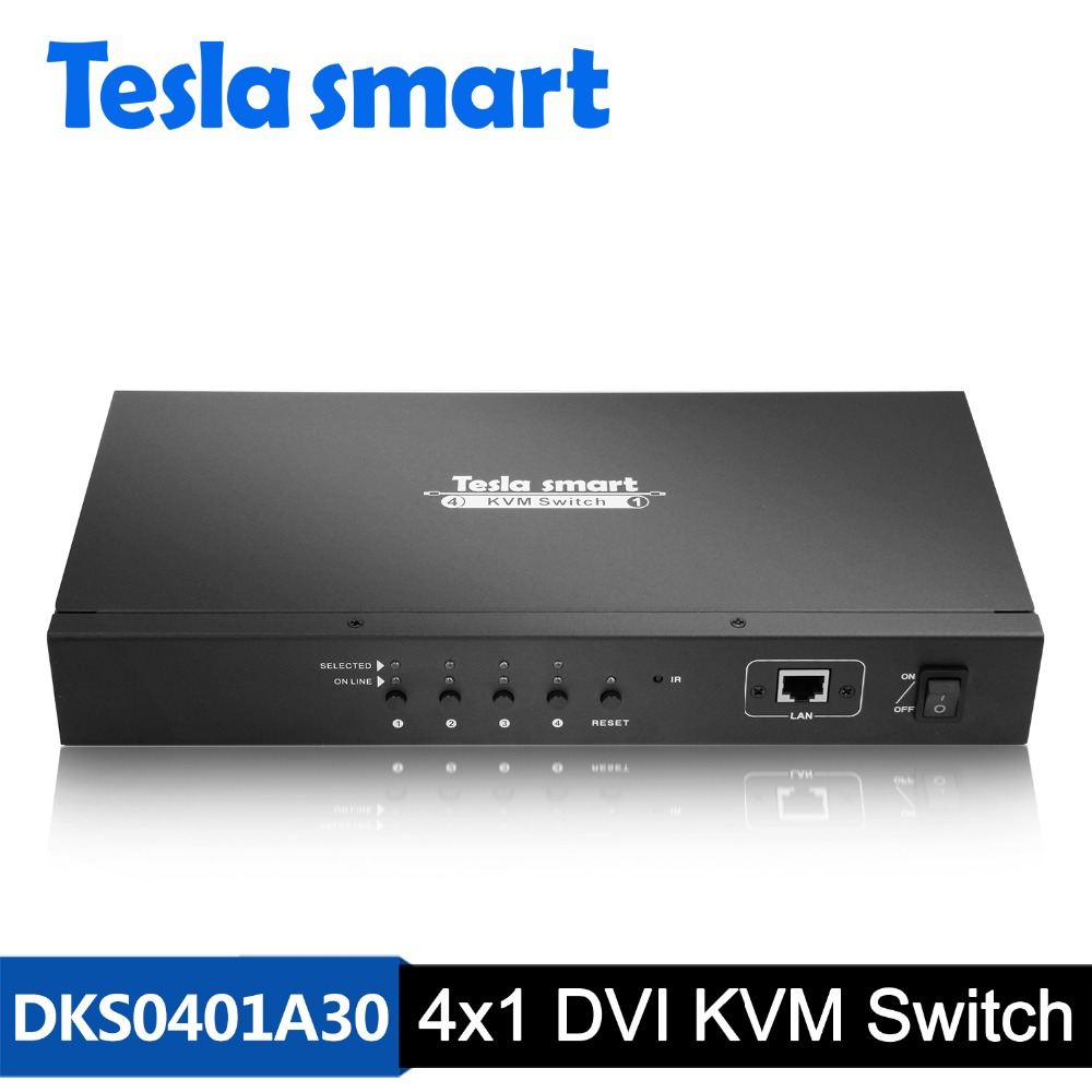 DHL Livraison Tesla smart DVI KVM Commutateur 4 Port avec IP Contrôle USB2.0 Audio 3840*2160 (4 K * 2 K) a 2 Pcs Oreilles de Rack Standard 1U Hauteur