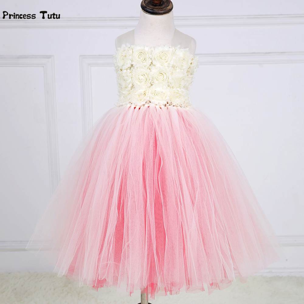 Tulle Girls Dress Vestidos Princess Tutu Dress Kids Flower Girl Dresses Children Girl Wedding Party Pageant Birthday Ball Gown