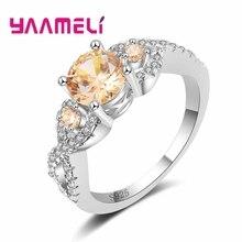 Роскошные круглые цвета шампанского кубический циркон кристалл кольцо 925 пробы серебряные ювелирные изделия Модные женские свадебные Бесконечность Bijoux