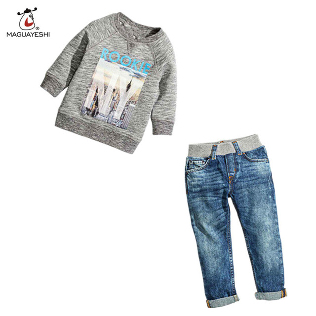 2016 Nuevos Niños de La Manera Ropa Para Niñas Primavera Otoño de la Historieta de manga larga T-shirt + Jeans Cabritos de los Sistemas de muchachos Traje