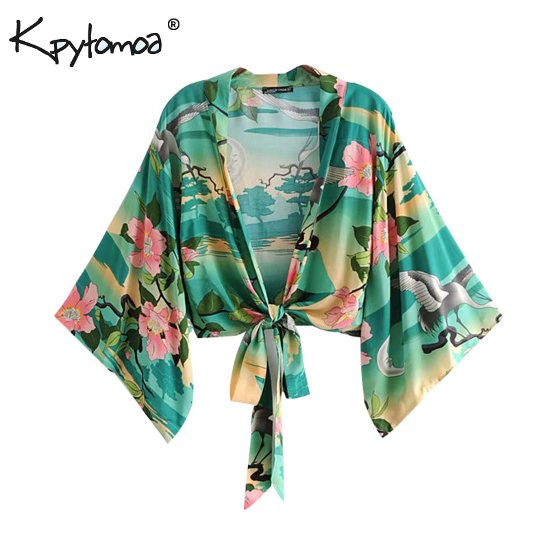 Boho Chic Summer Crop Tops Vintage Floral Print Kimono Women 2018 Fashion V Neck Bow Tie Beach   Blouses     Shirts   Blusas Mujer