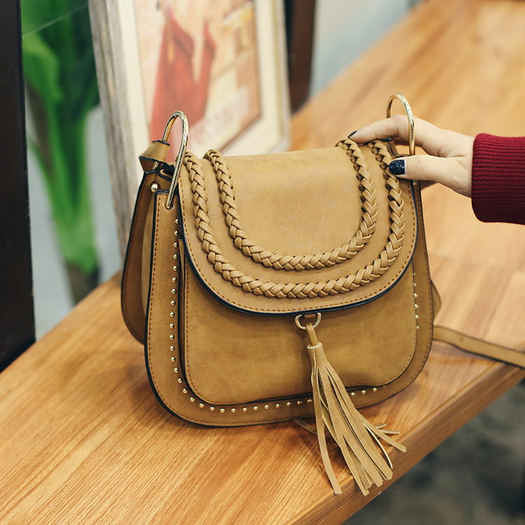 brand 2016 women messenger handbags classic vintage tassel woven saddle weave single shoulder crossbody bags chic lady bag sunlight forest print tapestry wall hanging