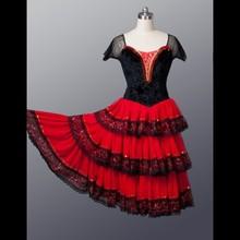 Экспресс-, для взрослых, черная, красная, романтическая юбка-пачка, профессиональная, длинная балетная юбка, испанский танцевальный костюм, испанское, китри, танцевальное, балетное платье