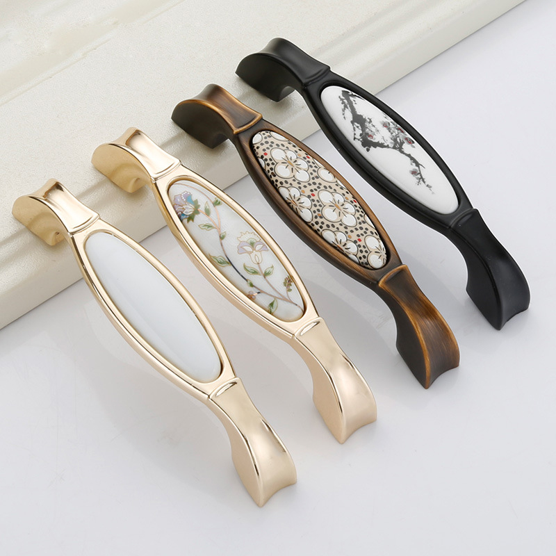 Candid European Ceramic Zinc Alloy Handle Chinese Style Bedroom Shoe Wardrobe Door Handle Furniture Hardware Accessories To Enjoy High Reputation At Home And Abroad