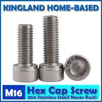 M16 DIN912 Hexagon Socket Head Cap Machine Screws Allen Metric 304 Stainless Steel Bolt HEX Socket