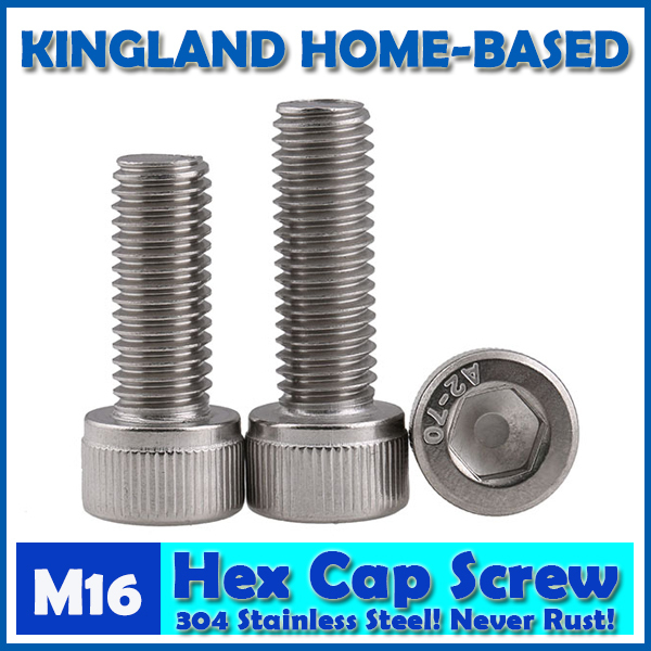 M16 DIN912 Hexagon Socket Head Cap Machine Screws Allen Metric 304 Stainless Steel Bolt HEX Socket Screws For Computer Case 2pc din912 m10 x 16 20 25 30 35 40 45 50 55 60 65 screw stainless steel a2 hexagon hex socket head cap screws