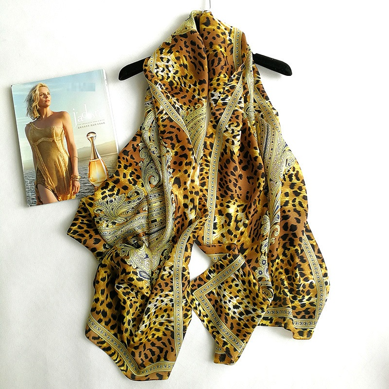 Women Long 100% Silk Scarf Shawl Wraps Fashion Lepard & Paisley Prints Silk Scarves 175x65cm