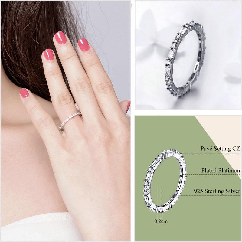 925 Sterling Silber Ringe für Frauen Zirkon 925 Silber Einfache - Modeschmuck - Foto 5