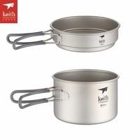 Keith Titanium Pot Cookware Camping Pot Sets Pots and Pans Outdoor Cookware