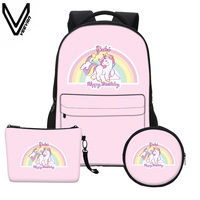 VEEVANV Cheap Portfolio Backpack 18inch 8color Choices 3D Anime Printing Unicorn Backpack Organizer Notebook Bag For