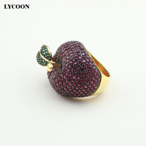 Image 4 - LYCOON elegant crystal apple rings food style yellow gold color luxury prong setting rose red/green Cubic Zirconia for women