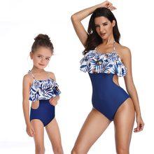 Traje de baño madre hija para mamá y yo ropa traje de baño mamá juego oufits para el aspecto familiar flounce azul una pieza bikini mamá