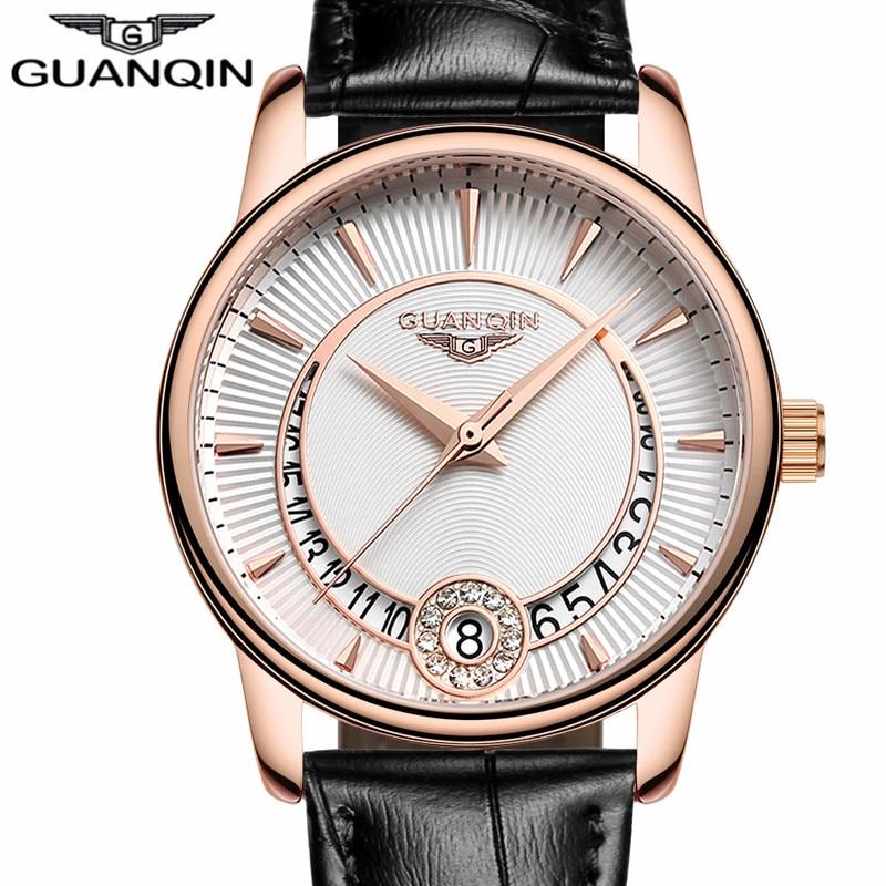 Relogio Feminino GUANQIN Ženska modna kremenčeva ura Ženska obleka iz torbice serije Usnjene dame ura Luksuzna nakitne ure A