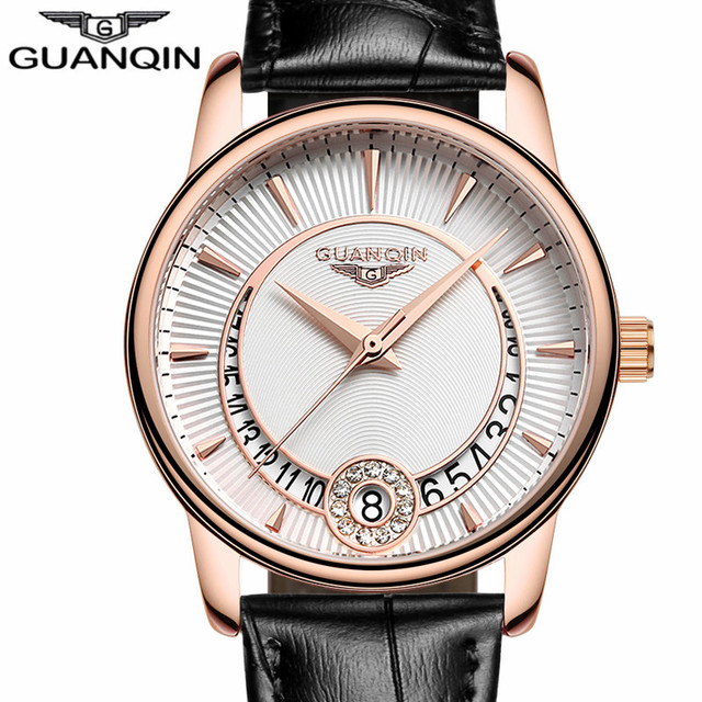 Relogio Feminino GUANQIN Women s Fashion Quartz Watch Women Gold Case dress  Series Leather Ladies clock Luxury Jewelry Watches A 3738cce68550