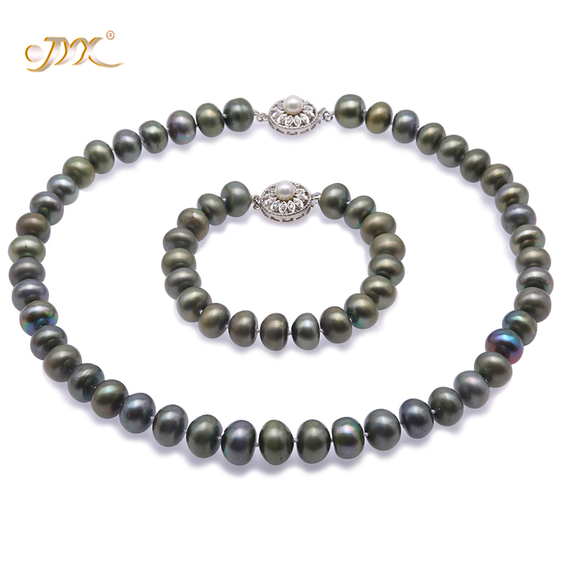 Genuine Pearl Jewelry Set - 11-13mm Greenish Black Freshwater Pearls Necklace Jewelry and Bracelet Set 18.5 - AAGenuine Pearl Jewelry Set - 11-13mm Greenish Black Freshwater Pearls Necklace Jewelry and Bracelet Set 18.5 - AA