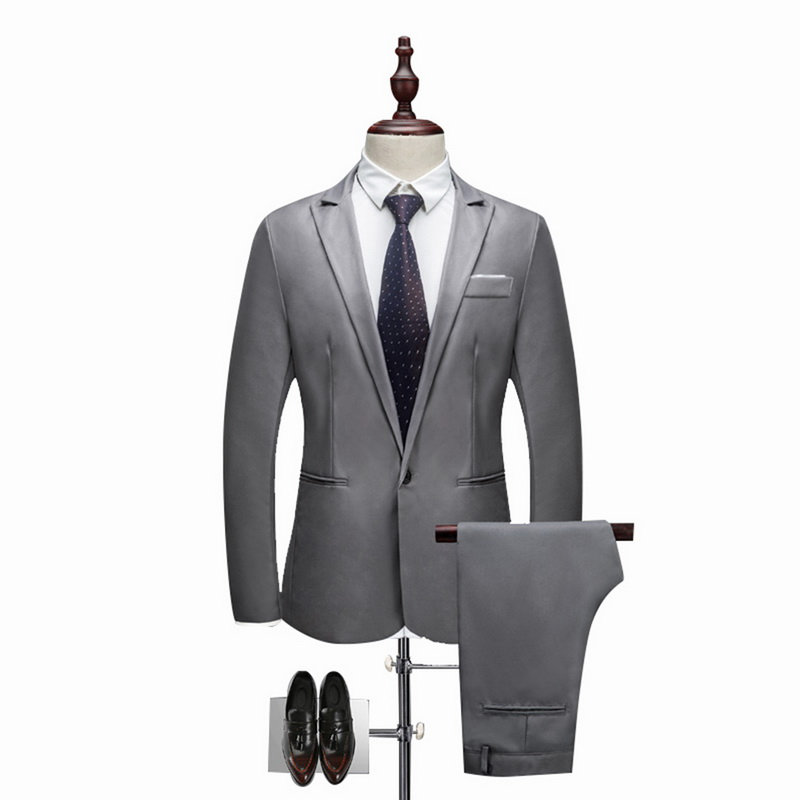 MoneRffi 2018 Hot 2 Pieces Blazer& Pants Set  Men Formal Business Suit Sets Casual Slim   Plus Size 3XL Wedding