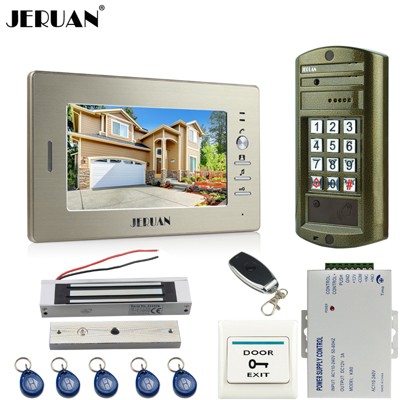 JERUAN 7 inch Video Door Phone Intercom System kit Metal Panel waterproof password keypad HD Mini Camera +180kg Magentic lock jeruan 8 inch video door phone high definition mini camera metal panel with video recording and photo storage function