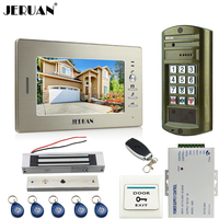 JERUAN 7 polegada Telefone Video Da Porta Intercom Sistema kit Painel de Metal senha do teclado HD Mini Câmera à prova d' água + 180 kg bloqueio Magentic
