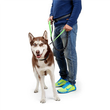 Clearance Sale Nylon Reflective Dog Leash With Waist Belt Hands Free Adjustable Pet Night Outdoor Training Products