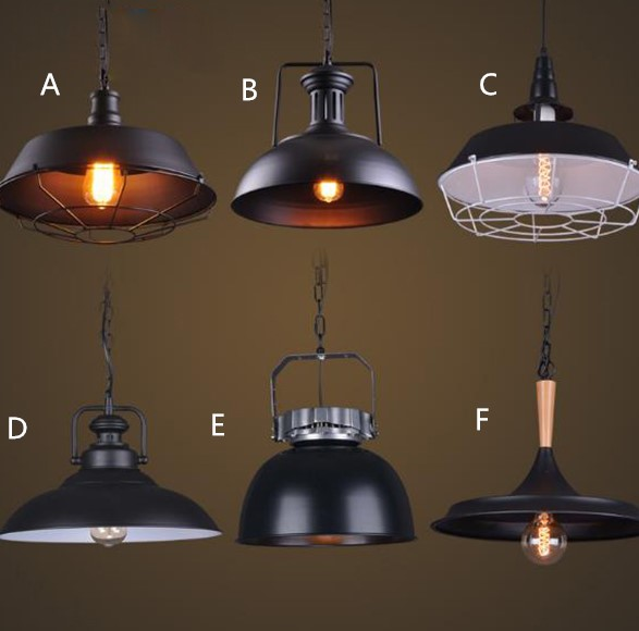 American loft industrial style LED Pendant lights retro bar dining room coffee bar lamp single black iron art drop lightsAmerican loft industrial style LED Pendant lights retro bar dining room coffee bar lamp single black iron art drop lights