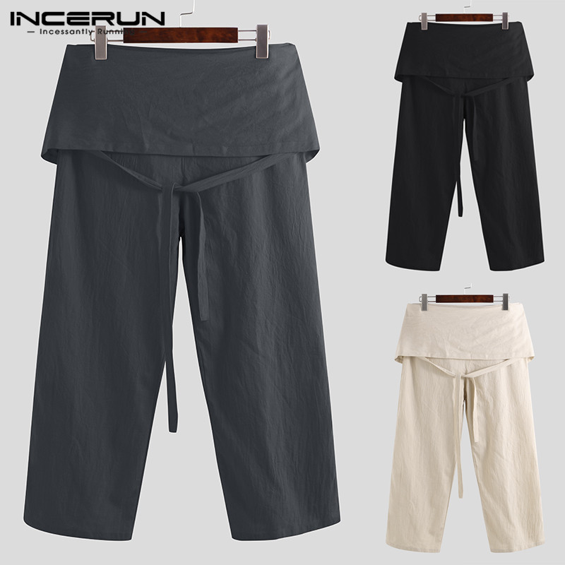 INCERUN Plus Size Men Thai Fisherman Pants Loose Cotton Fashion Trousers Men Wide Legs Solid Lace Up Male Casual Pants 2019 5XL