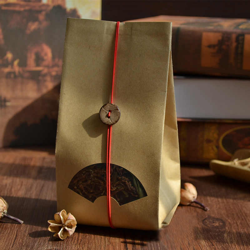 Many Sizes Tear Notches Flat Brown Kraft Paper Bag  Food Grade Scented tea reusable Fan-shaped window packed bag 100pcs