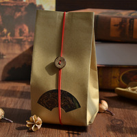 Many Sizes Tear Notches Flat Brown Kraft Paper Bag Food Grade Scented tea reusable Fan shaped window packed bag 100pcs