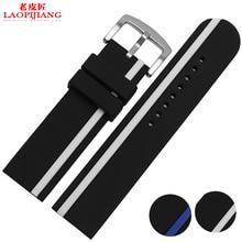 Laopijiang correa de caucho de Silicona suave correa de la marca de relojes accesorios general cada 22 24mm