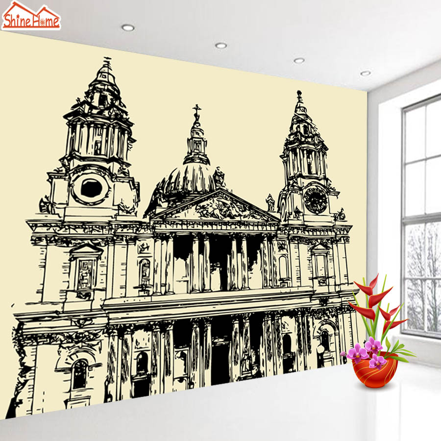 ShineHome-Europe Church Black and White Painting Wallpaper Wall 3d Murals for Walls 3 d Wallpapers for Livingroom 3 d Mural Roll shinehome sunflower bloom retro wallpaper for 3d rooms walls wallpapers for 3 d living room home wall paper murals mural roll