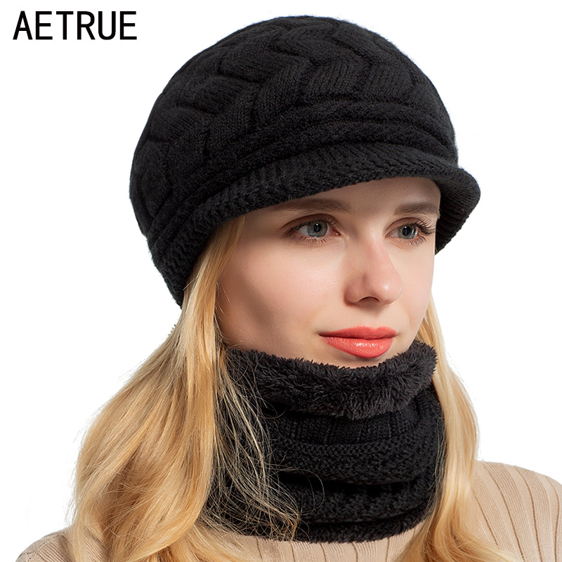 AETRUE Skullies Beanies Women Knitted Hat Scarf Female Winter Hats For Women Bonnet Solid Balaclava Mask Feminino Beanie Hat Cap beanie