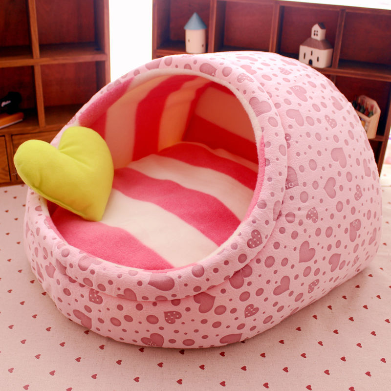 5aaa57c45a2e US $12.98 41% OFF|Pet cat dog bed house nest dog house cat bed kennel pet  warm princess bed dog beds for small medium dogs cat house washable-in ...