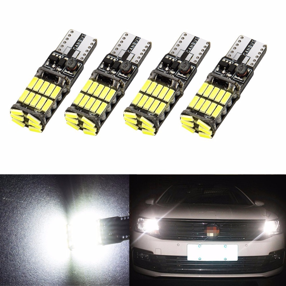 4pcs White T10 W2,1x9,5d W5W 4014 26 SMD Can bus LED Lights Bulb Error Free Interior Lamp Car Panel Light flytop 10 x t10 canbus 5smd 5050 smd error free car bulb w5w 194 led lamp auto rear light white blue yellow red color can bus