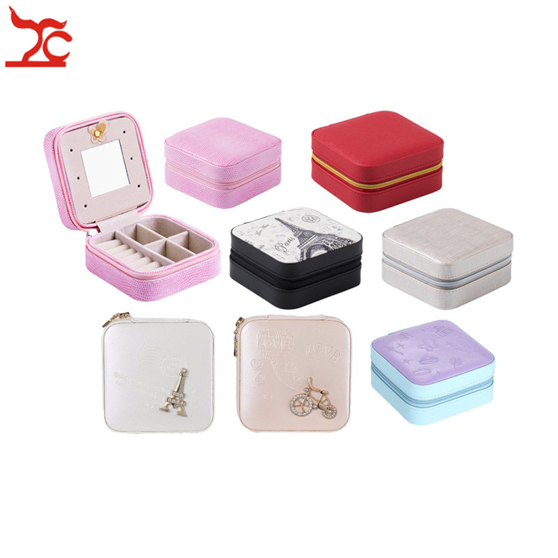 Fashion Jewelry Packaging Zipper Casket PU Leather Mirror Beauty Makeup Case Ring Organizer Container Travel Gift Box 10*10*5 cm