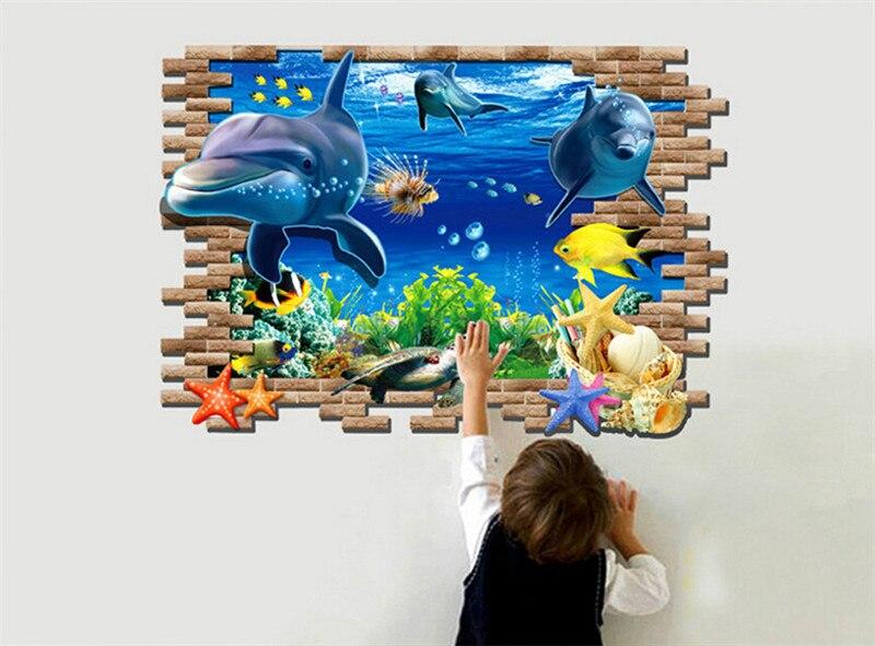 70x100cm 3D Seabed World Shark Wall Sticker Chidren Room Bedroom Living Room DIY Home Decal