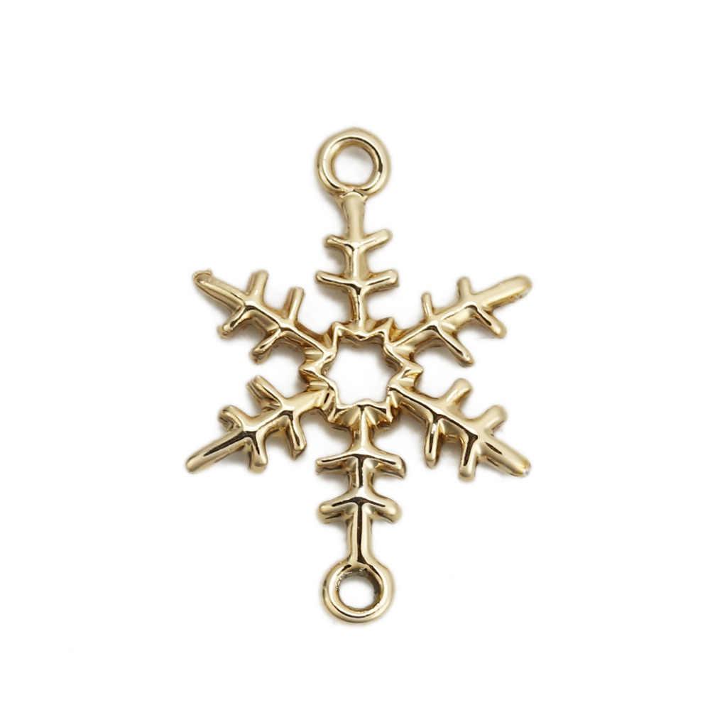 "Doreen Box Zinc Based Alloy Connectors Christmas Snowflake Light Golden DIY Fashion Jewelry Gifts 25mm(1"") x 17mm( 5/8""), 10 PCs"