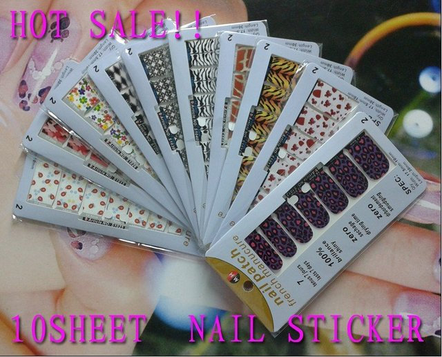 FreeSshipping New Style Nail Art Stickers 10sheet Nail Patch French Tips For Beauty Fashion Desgin  Products Wholesale 047