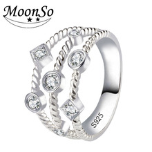 Moonso Новый Дизайн! 925 Серебряная свадьба Обручение палец Кольца для Для женщин Vantage ювелирные изделия R4319