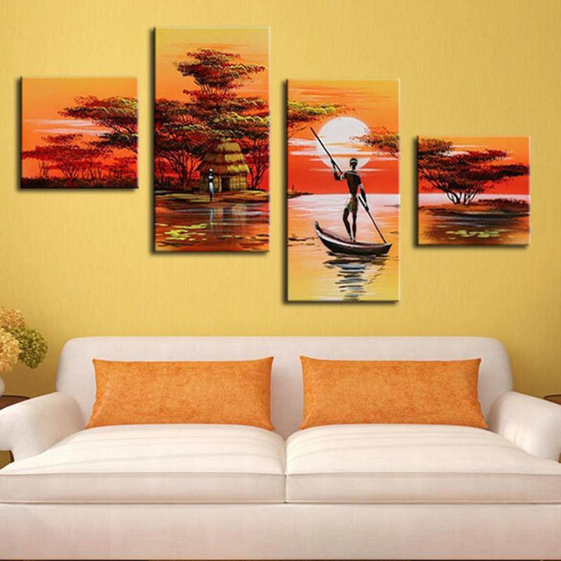 African Women Painting Hand Painted Abstract African Landscape ...