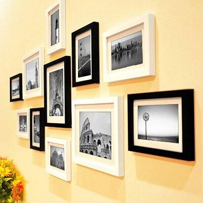 11 pieces set cheap photo frames set wood picture frame for Cheap a frames