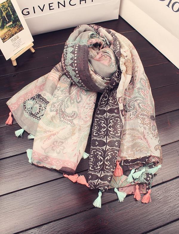 Der Schal der Frauen 100% Baumwolle und Leinen, der Schal der Art - Bekleidungszubehör - Foto 3