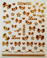 1pc Nail art 3D gold foil sticker bow-knot sticker short bride patch applique diy Nail Polish stickers diy nail tool