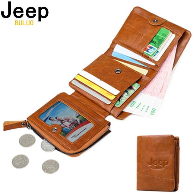JEEP BULUO Women Men Wallets Natural Genuine Cow Leather Short Bifold Purse RFID Blocking Tri-Folds Card Wallet For Man Ladies
