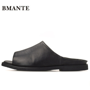 Bmante Genuine Leather Summer Men Slippers Beach Rome Fashion Flat Concise Luxury Solid Sandals Casual Male Slides Outside Shoes