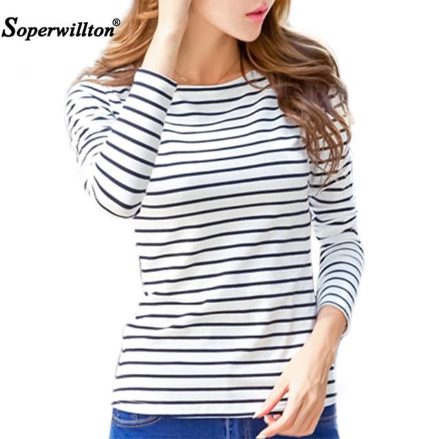 Soperwillton Katoenen T-shirt Vrouwen 2019 Nieuwe Herfst Lange Mouw O-hals Gestreepte Vrouwelijke T-Shirt Wit Casual Basic Klassieke Tops #620