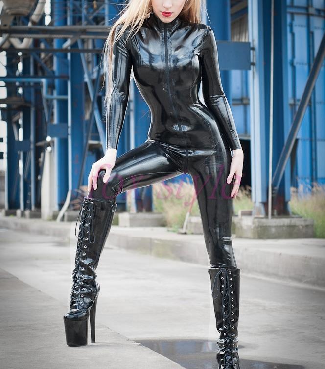 Латекс Черный боди сексуальные одежды комбинезон из латекса для woamn