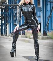 latex black bodysuit sexy garment latex catsuit for woamn
