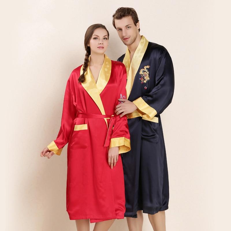 CEARPION mariée et marié Robe de soirée de mariage Robe de soirée chinois Vintage broderie Dragon & phoenix Kimono peignoir de soie Robes