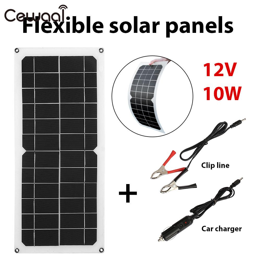 Phone Charger Solar Generator Portable 12V 10W Solar Panel Outdoor USB+DC Port+Car Charger Emergency Power Supply