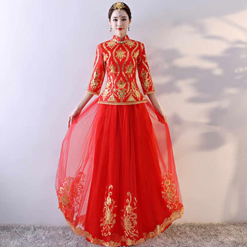 2018 Cheongsam rojo Sexy Qipao vestidos largos chino tradicional vestido de boda Oriental vestidos de novia tradición